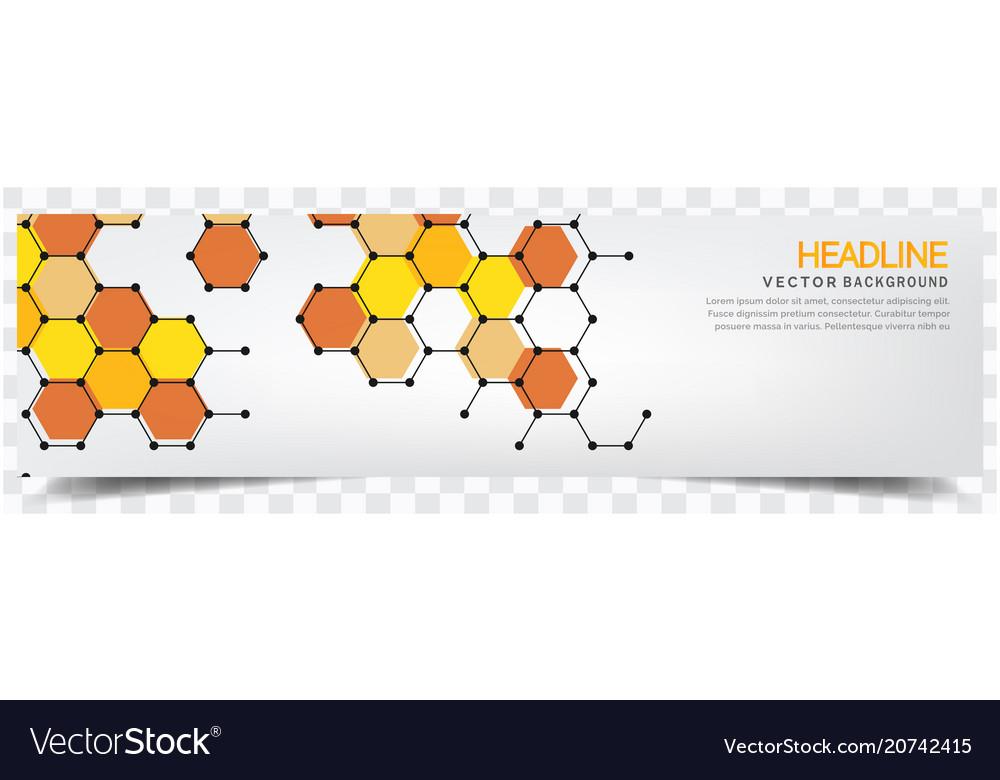 Abstract yellow honeycomb white background headlin