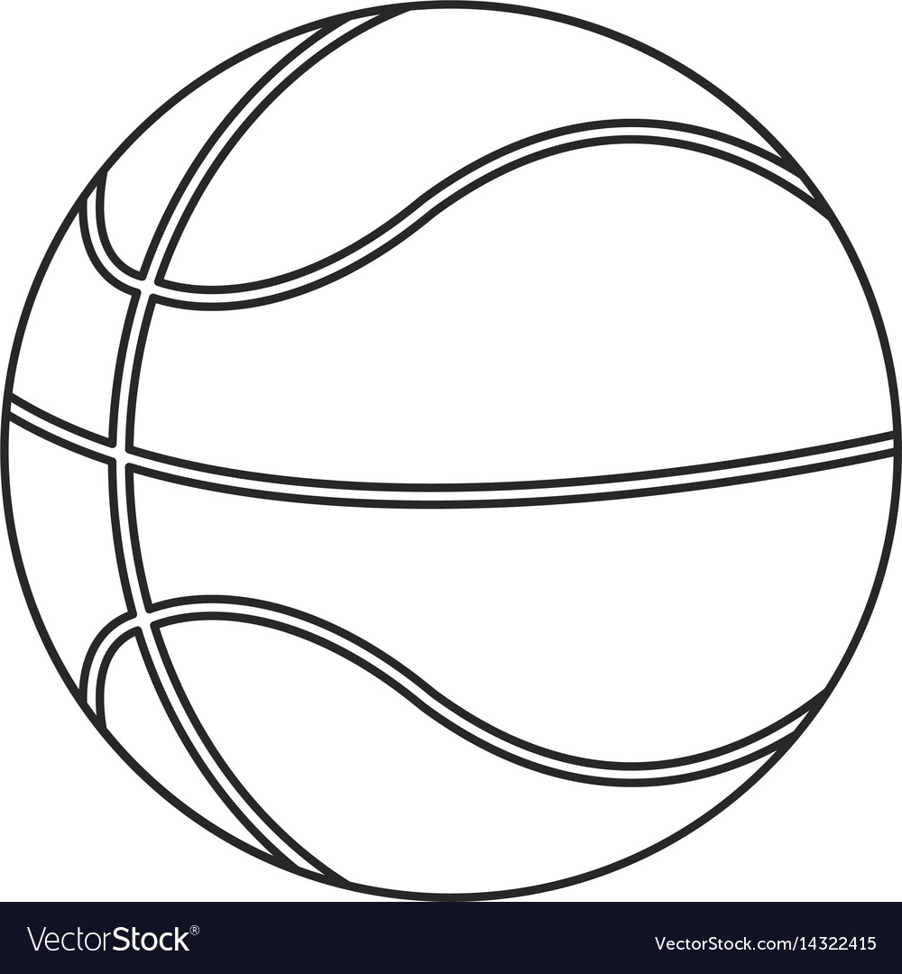 Basketball ball play thin line vector image
