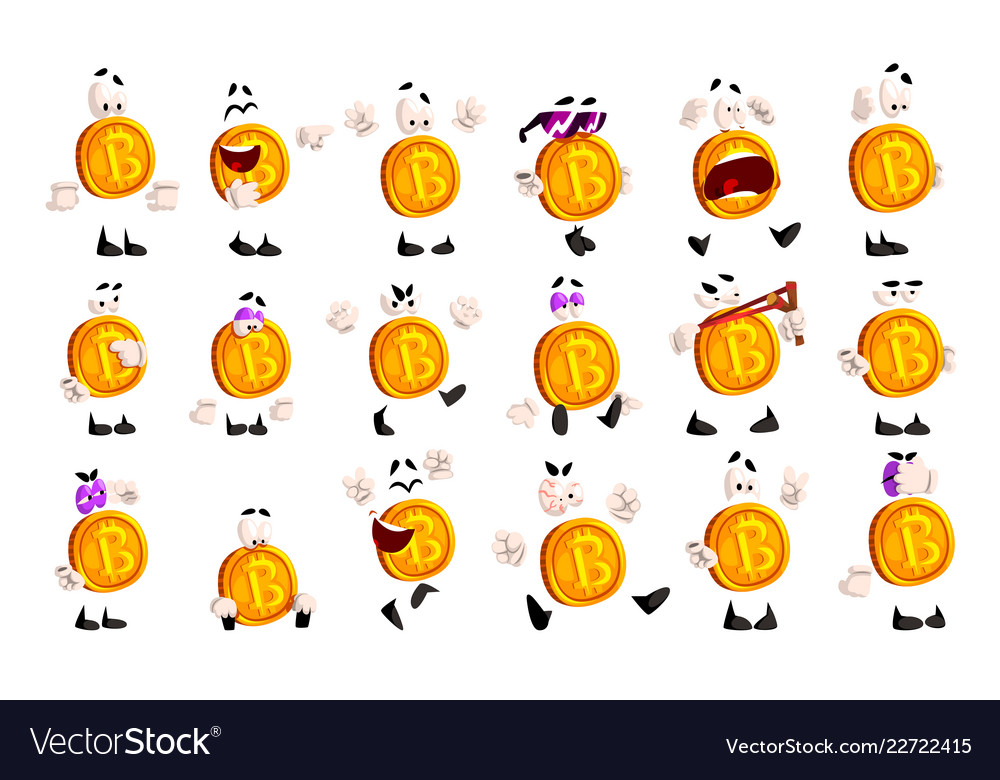 Bitcoin character sett crypto currency emoji with