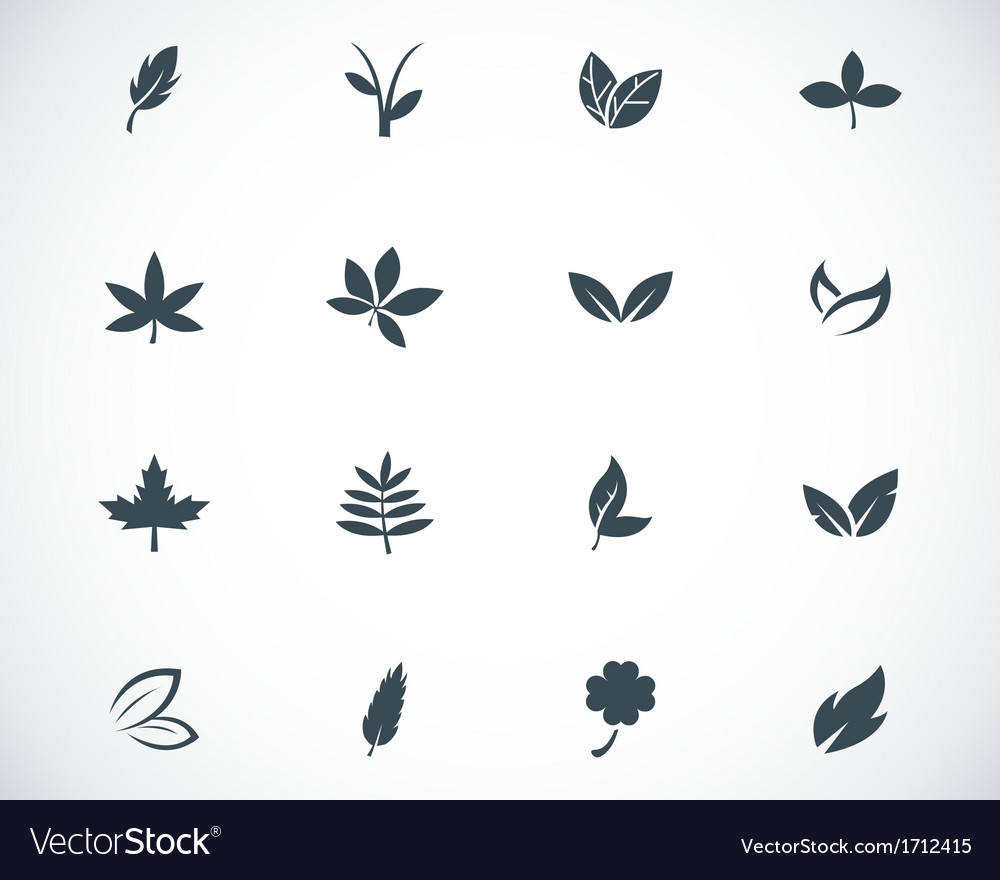Black leaf icons set