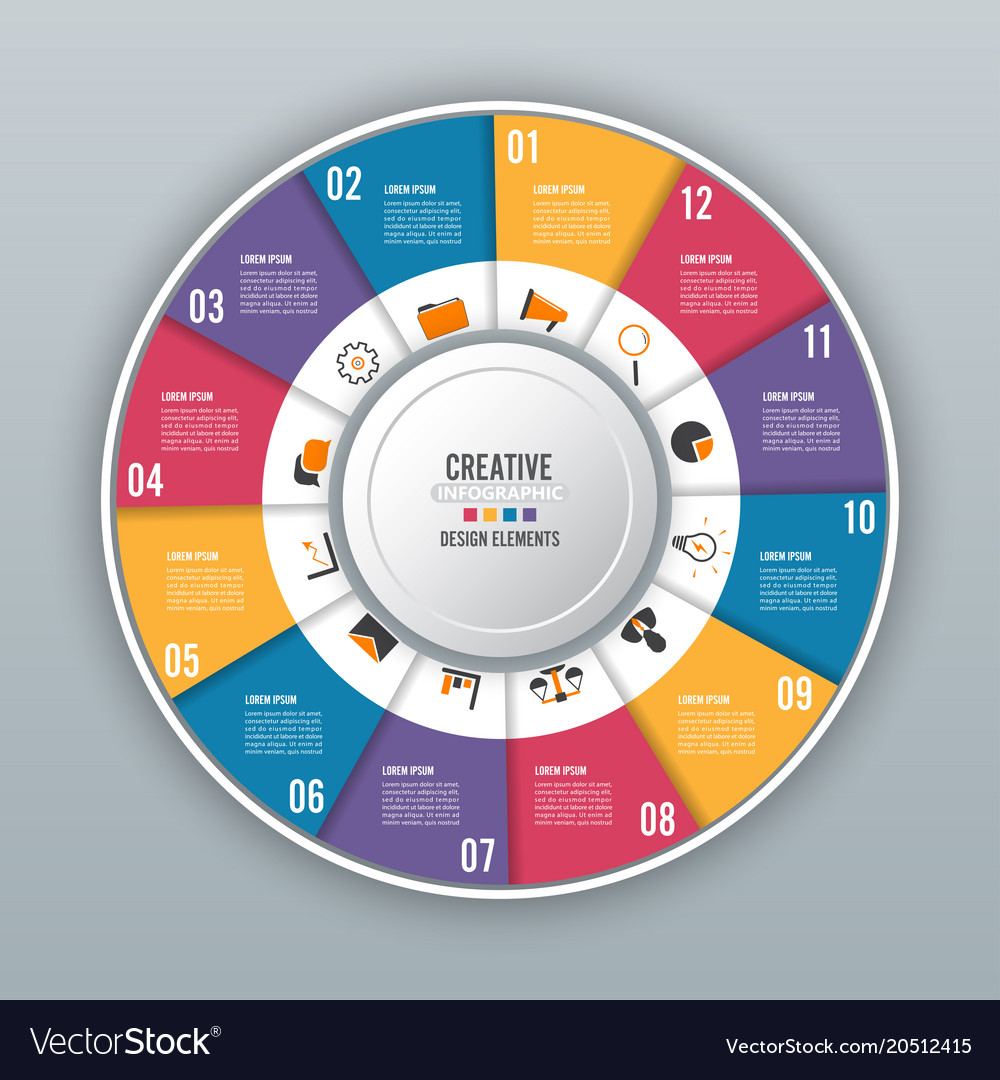 Circle chart infographic template with 12 options vector image ccuart Images