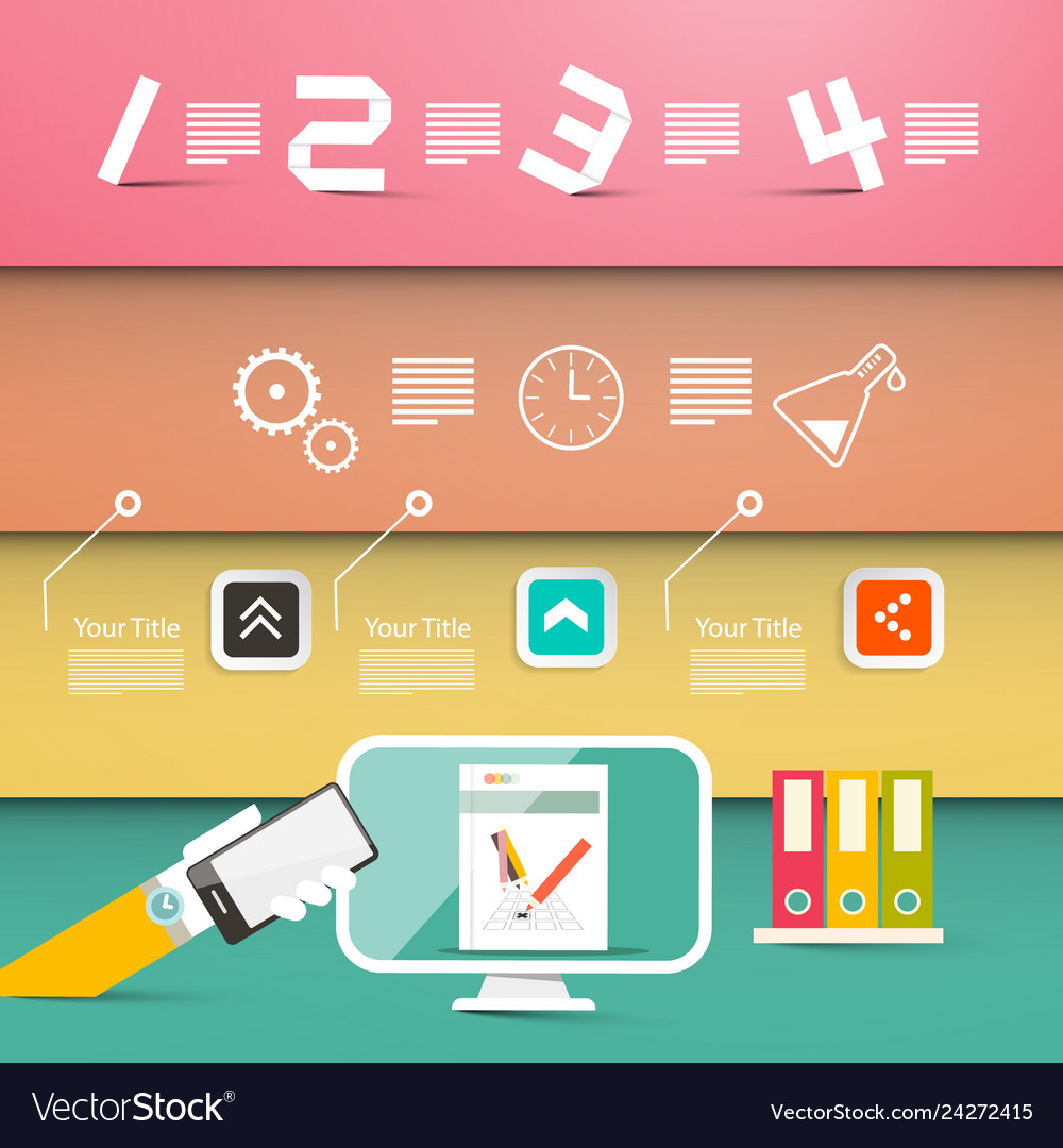 Four steps website or infographic design with