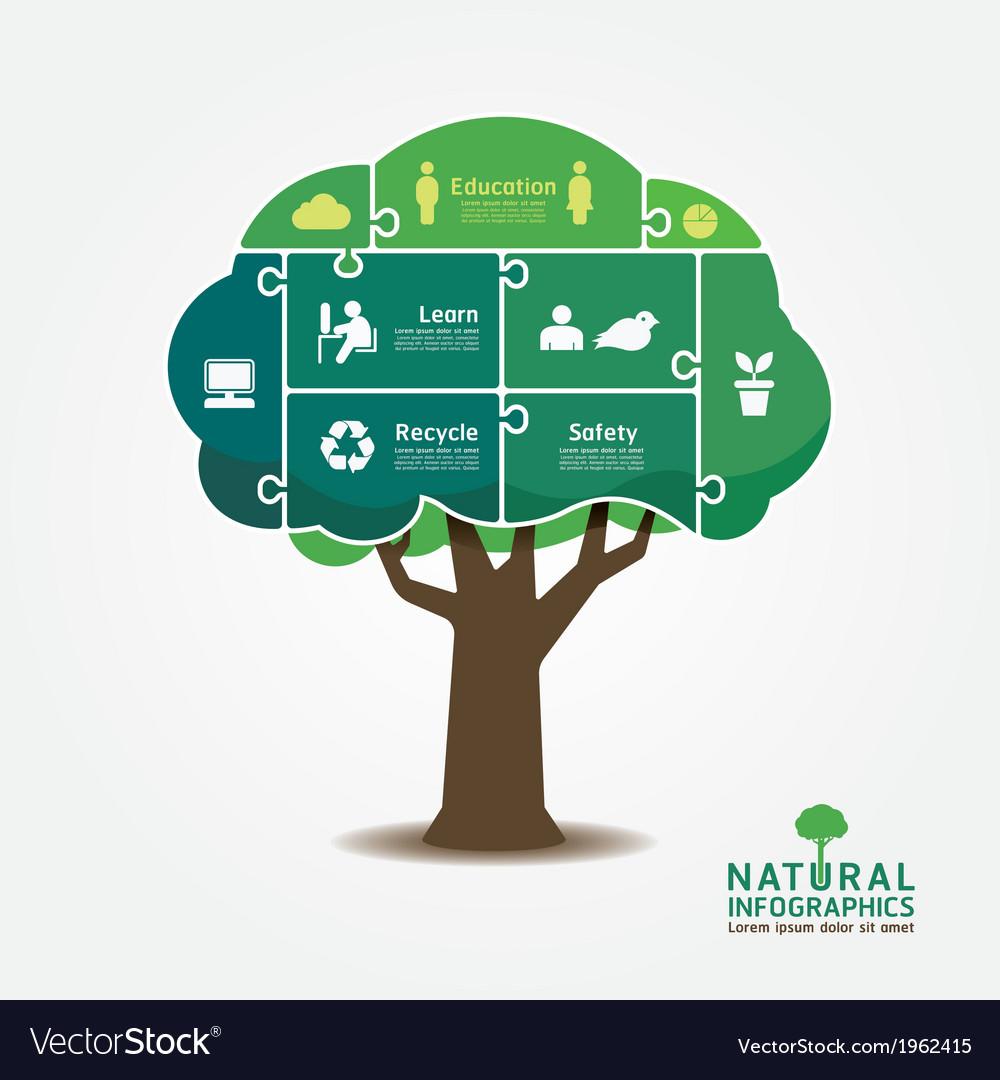 Infographic Green Tree jigsaw banner