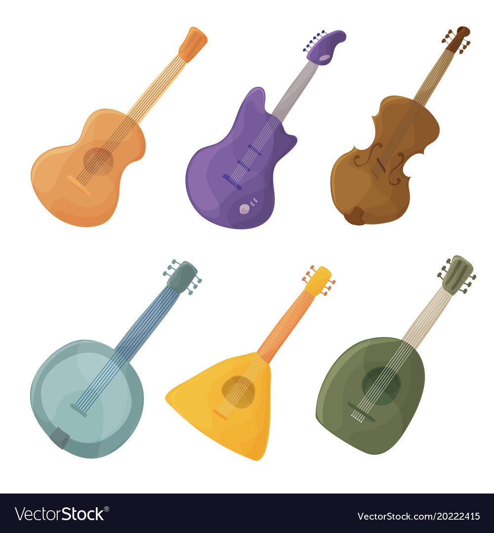 Musical stringed instruments in cartoon style