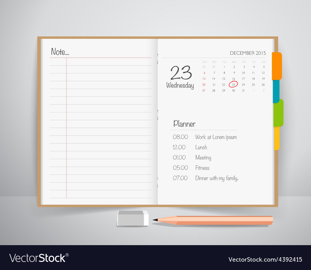 Note book with pencil Business working elements vector image