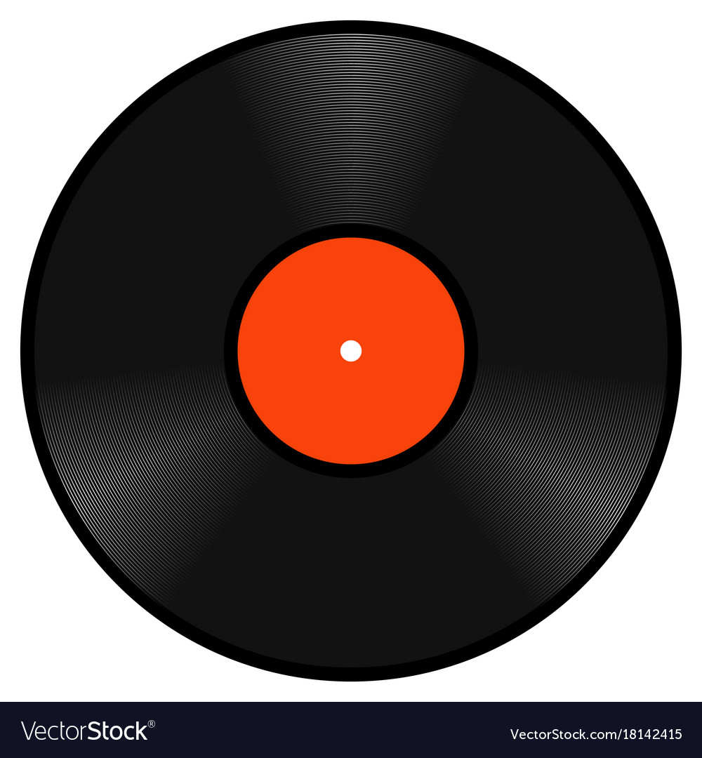 Realistic retro vinyl gramophone record disk