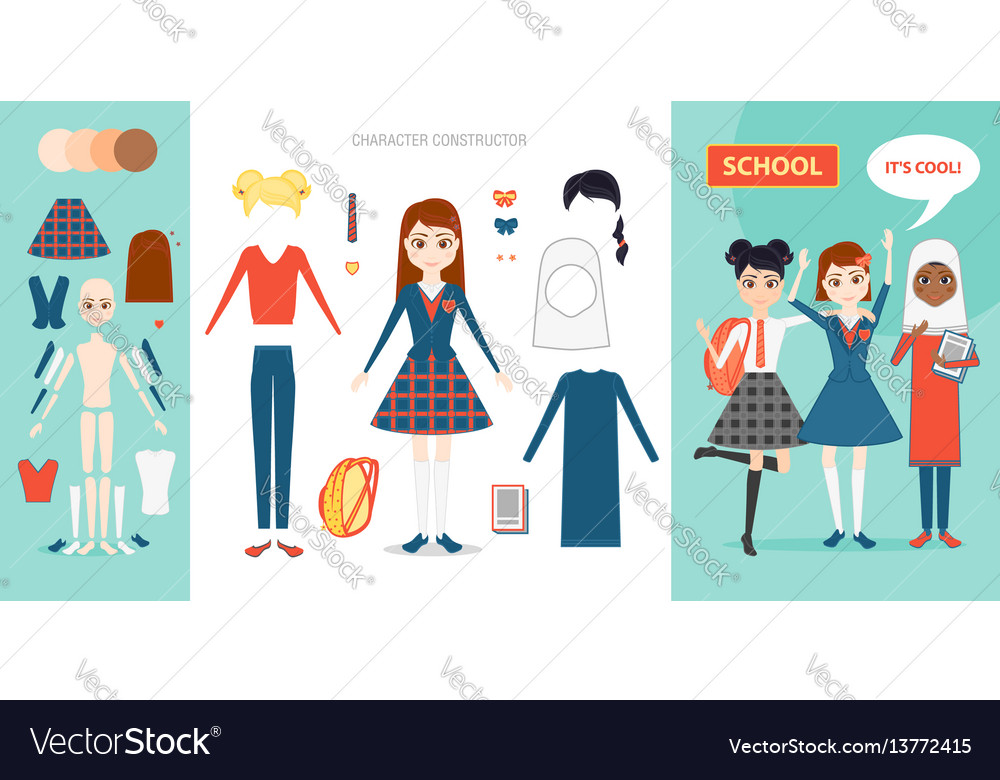 Schoolgirl character constructor set cartoon