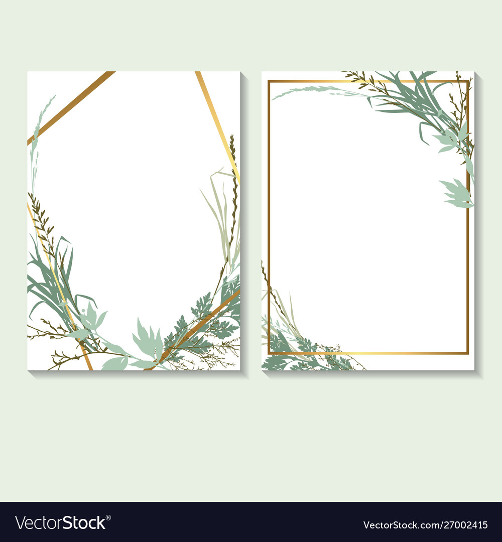 Template design cards with grass wedding