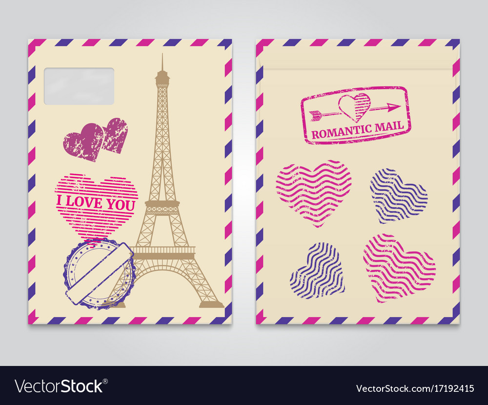 Vintage romantic envelopes with eiffel tower and
