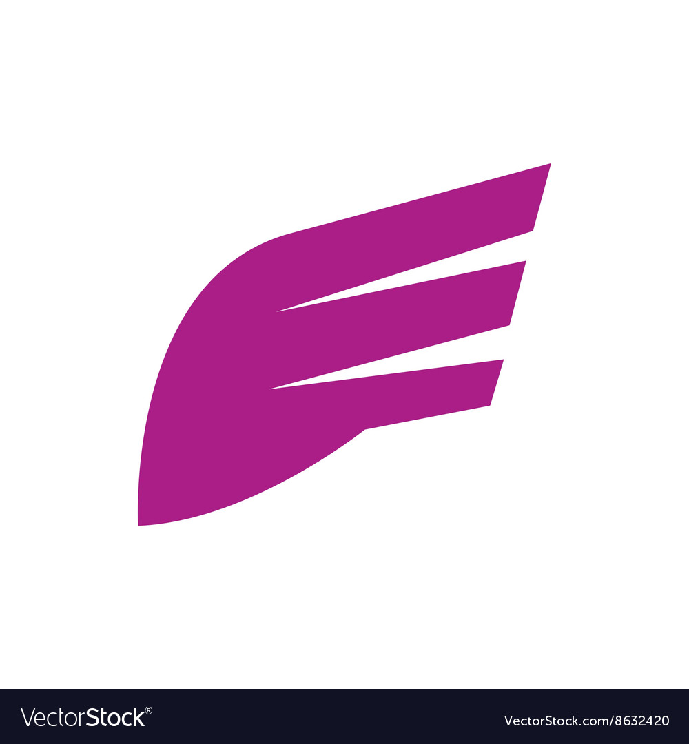 Abstract purple wing icon simple style