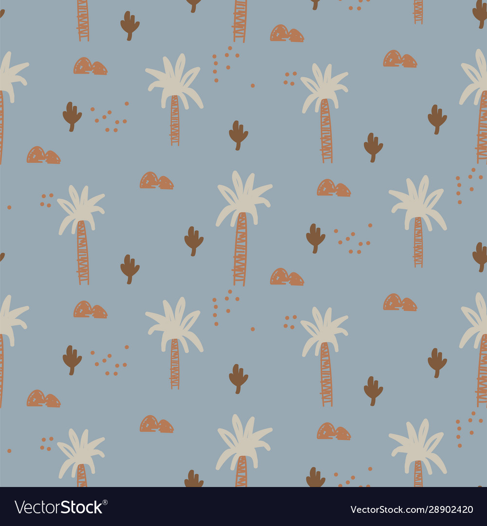 Abstract tropical plants seamless cute pattern