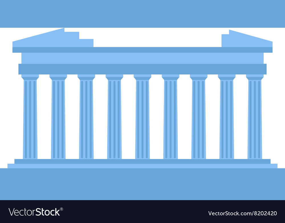 Ancient old structure Greece entrance with columns