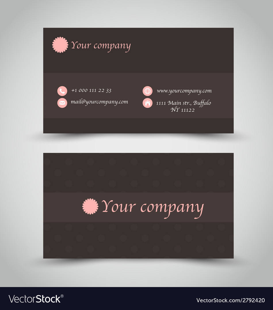 Business card set template brown chocolate color vector image reheart Choice Image