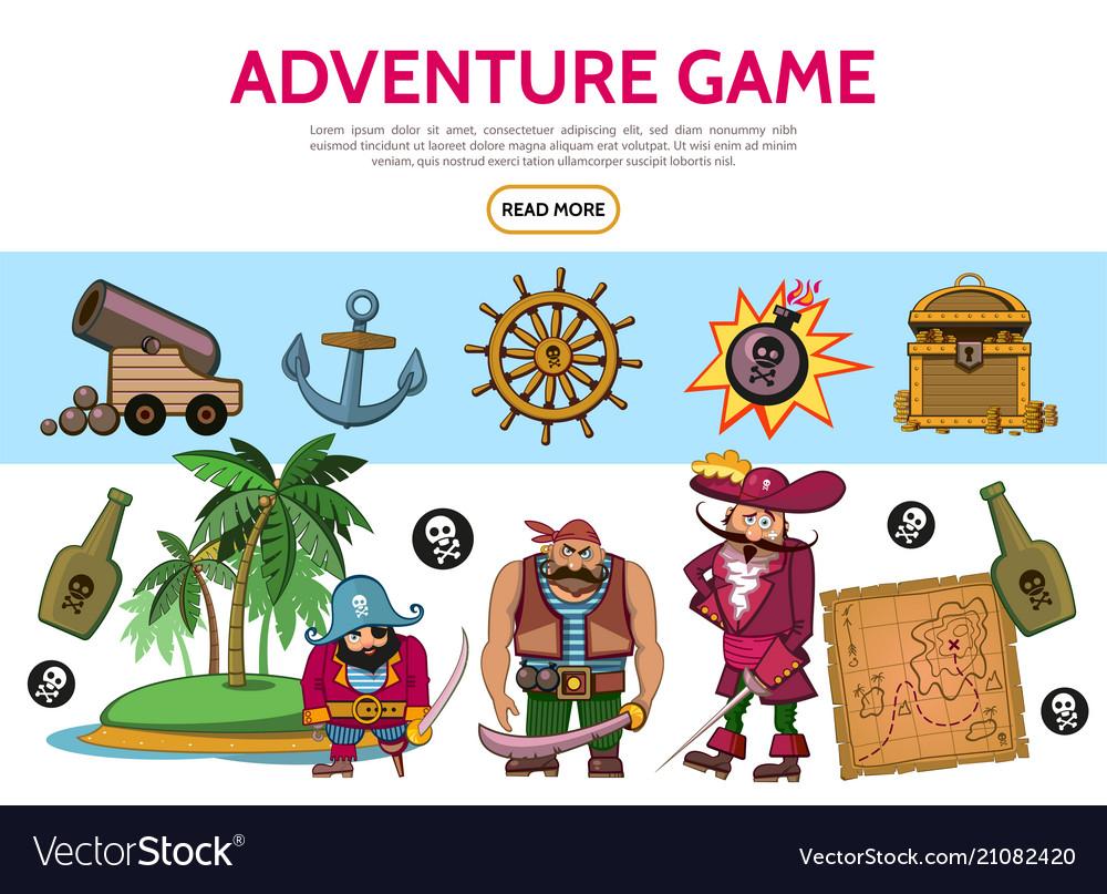 Cartoon adventure game elements set
