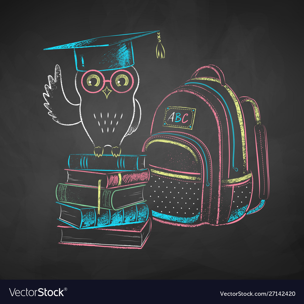 Chalk drawn owl on books