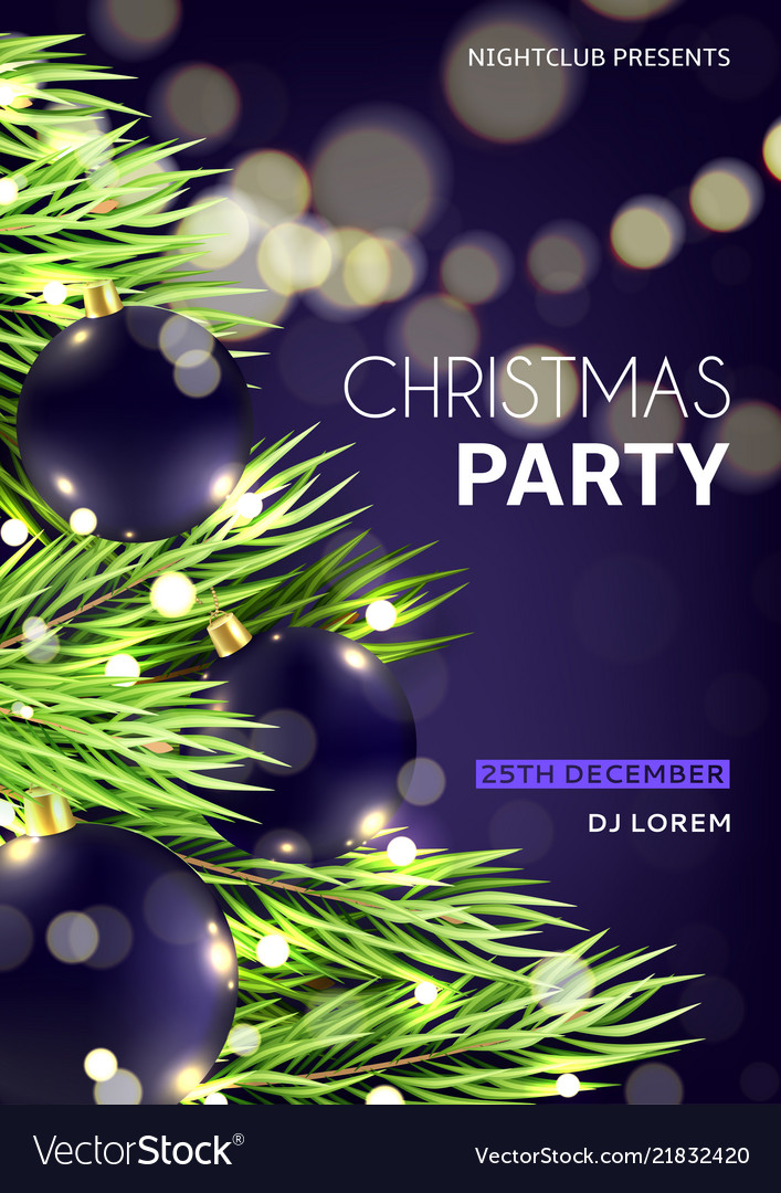 christmas party poster template royalty free vector image
