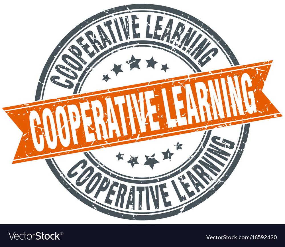 Cooperative learning round grunge ribbon stamp