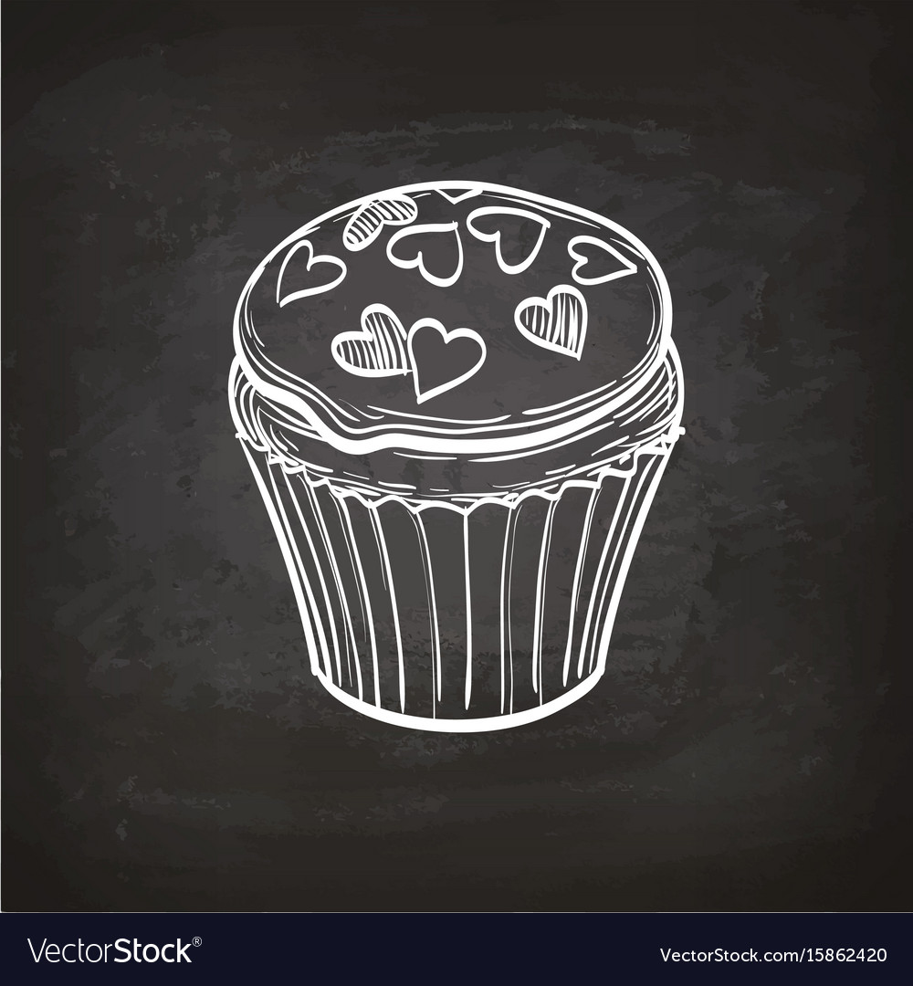 Cupcake sketch on chalkboard