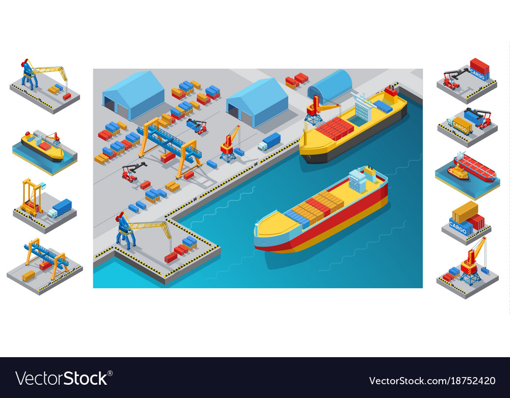 Pport Template | Isometric Sea Port Template Royalty Free Vector Image