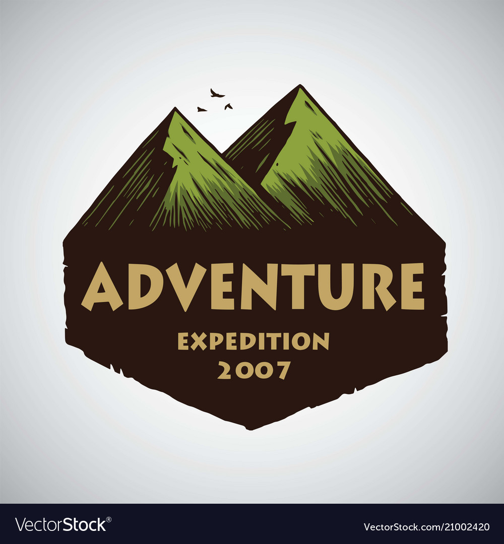 Logo for camping mountain adventure emblems
