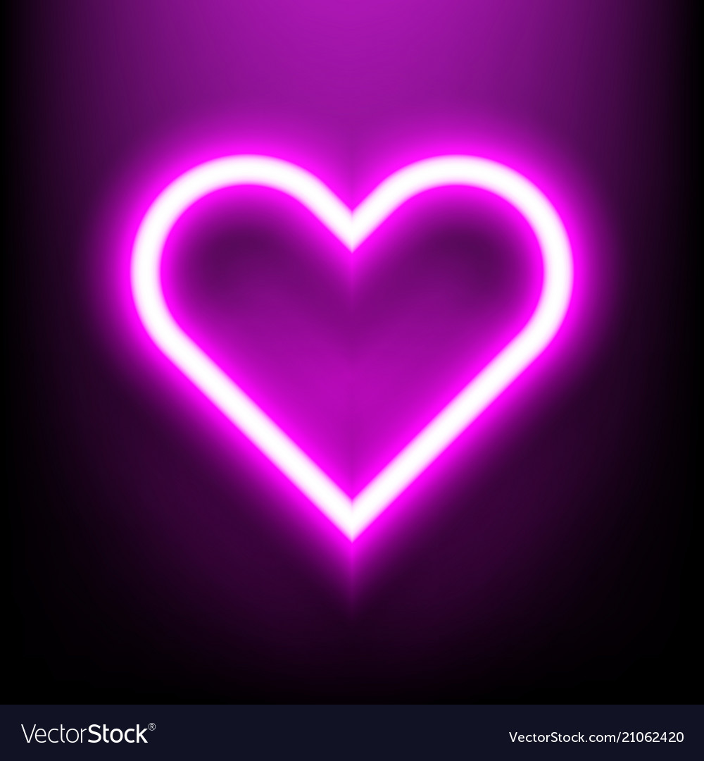 Neon bright lamp in heart shape sign