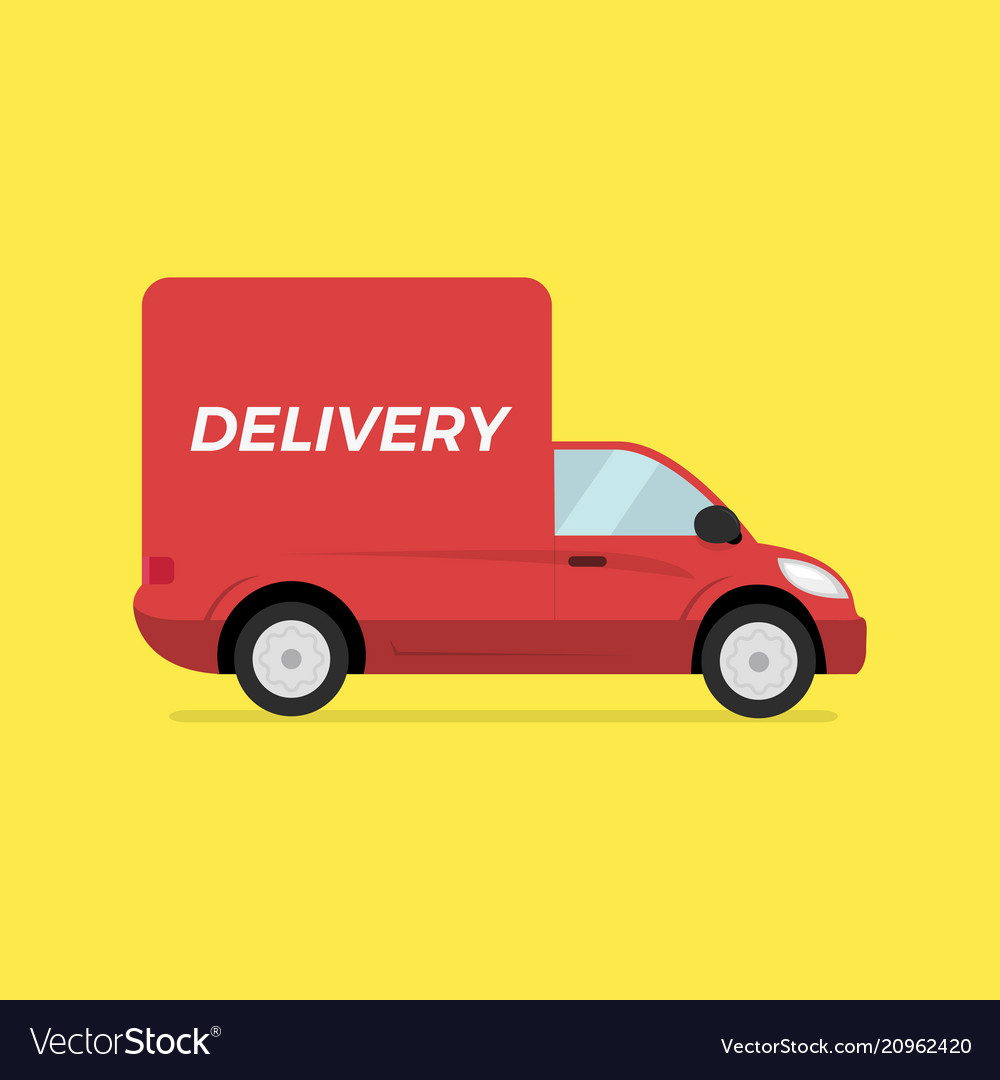 Red delivery truck concept fast trucking