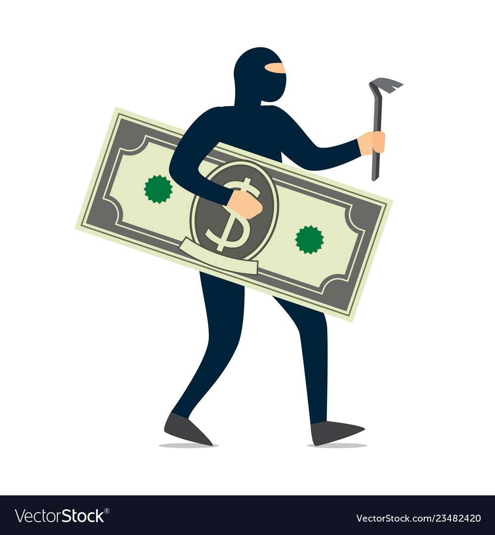 Thief in a black mask stole money