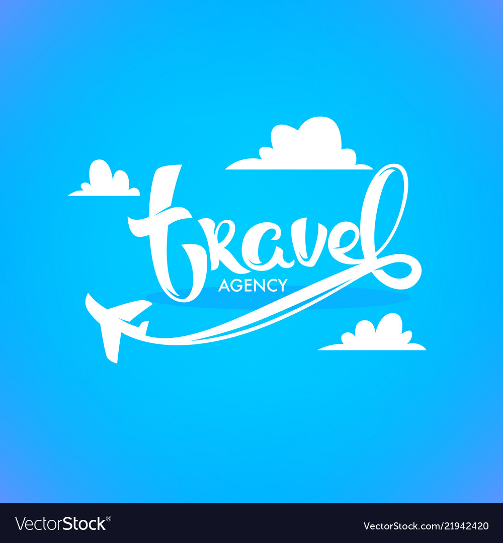 Travel agency lettering logo with white clouds vector