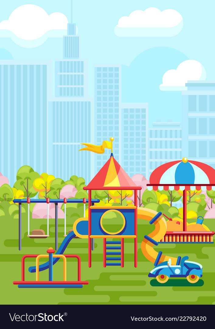 Vivid amusement playground in city