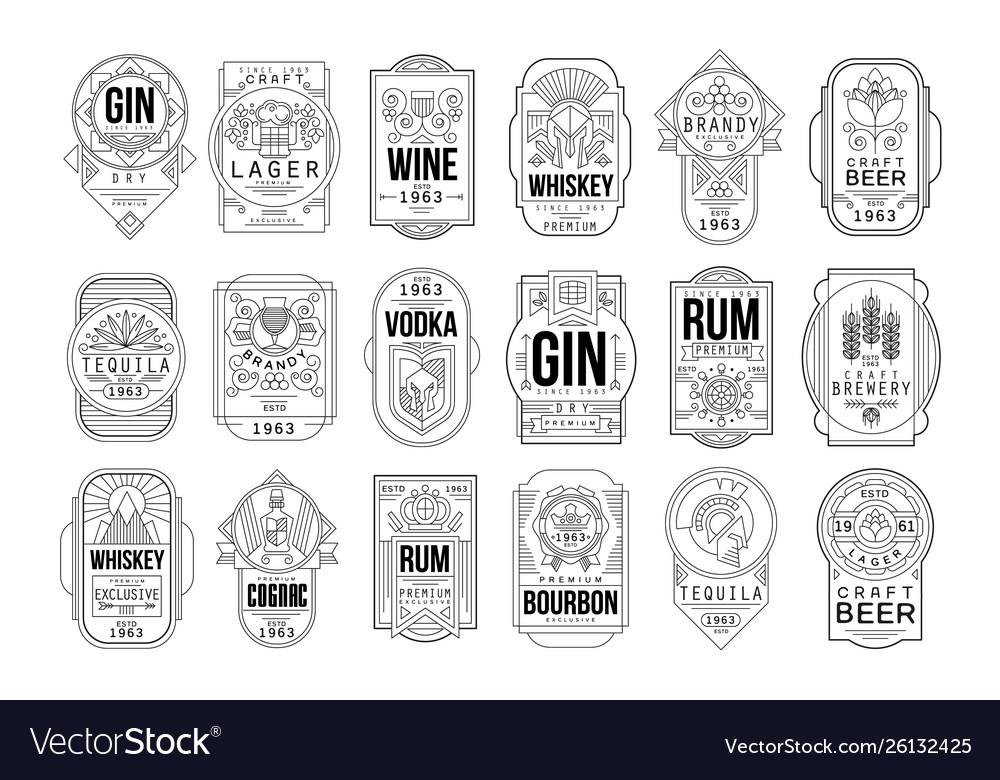 Alcohol labels set retro alcohol industry