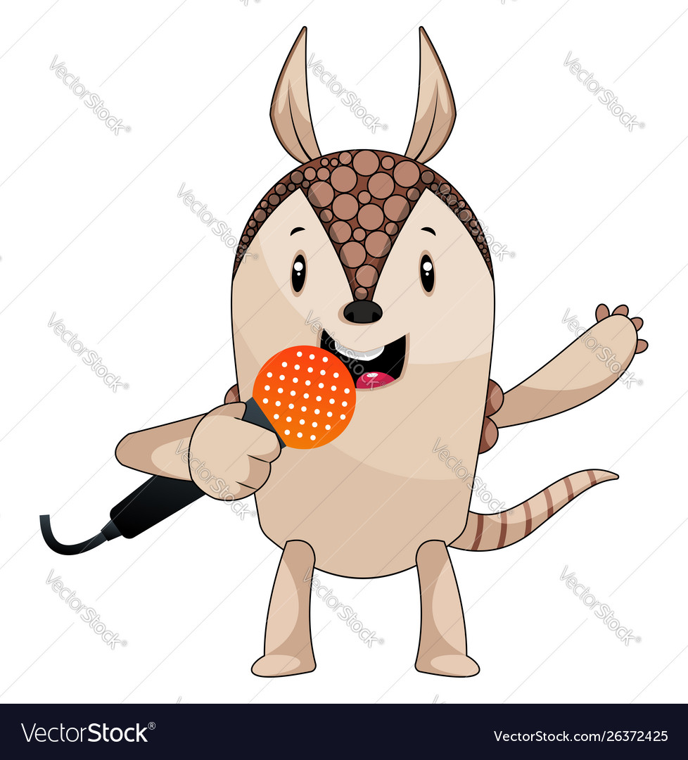 Armadillo singing on microphone on white