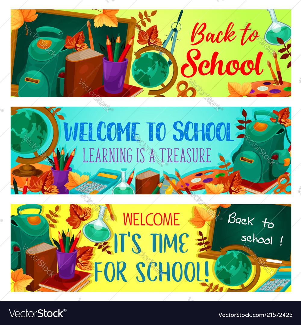 Back to school autumn season banners
