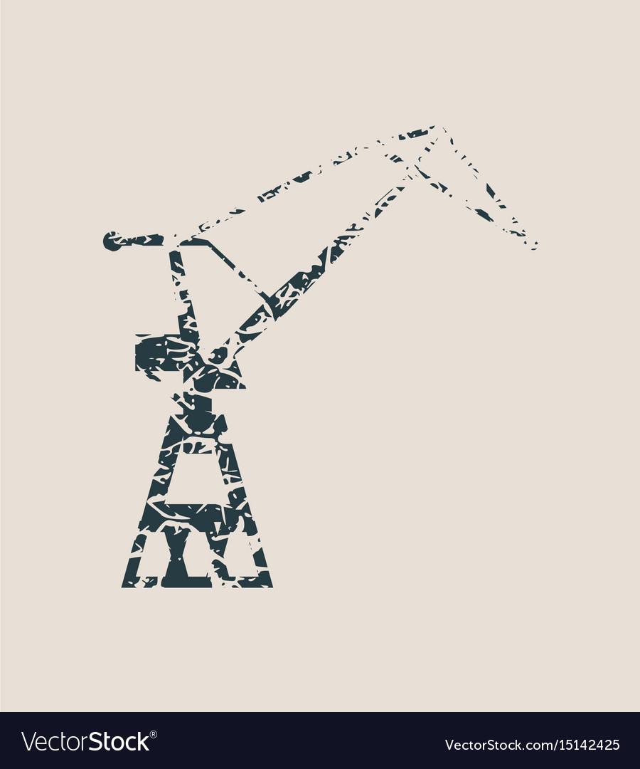 Cargo sea port crane icon