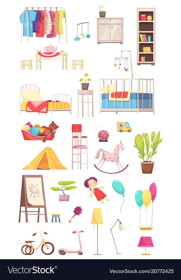Children room interior elements set