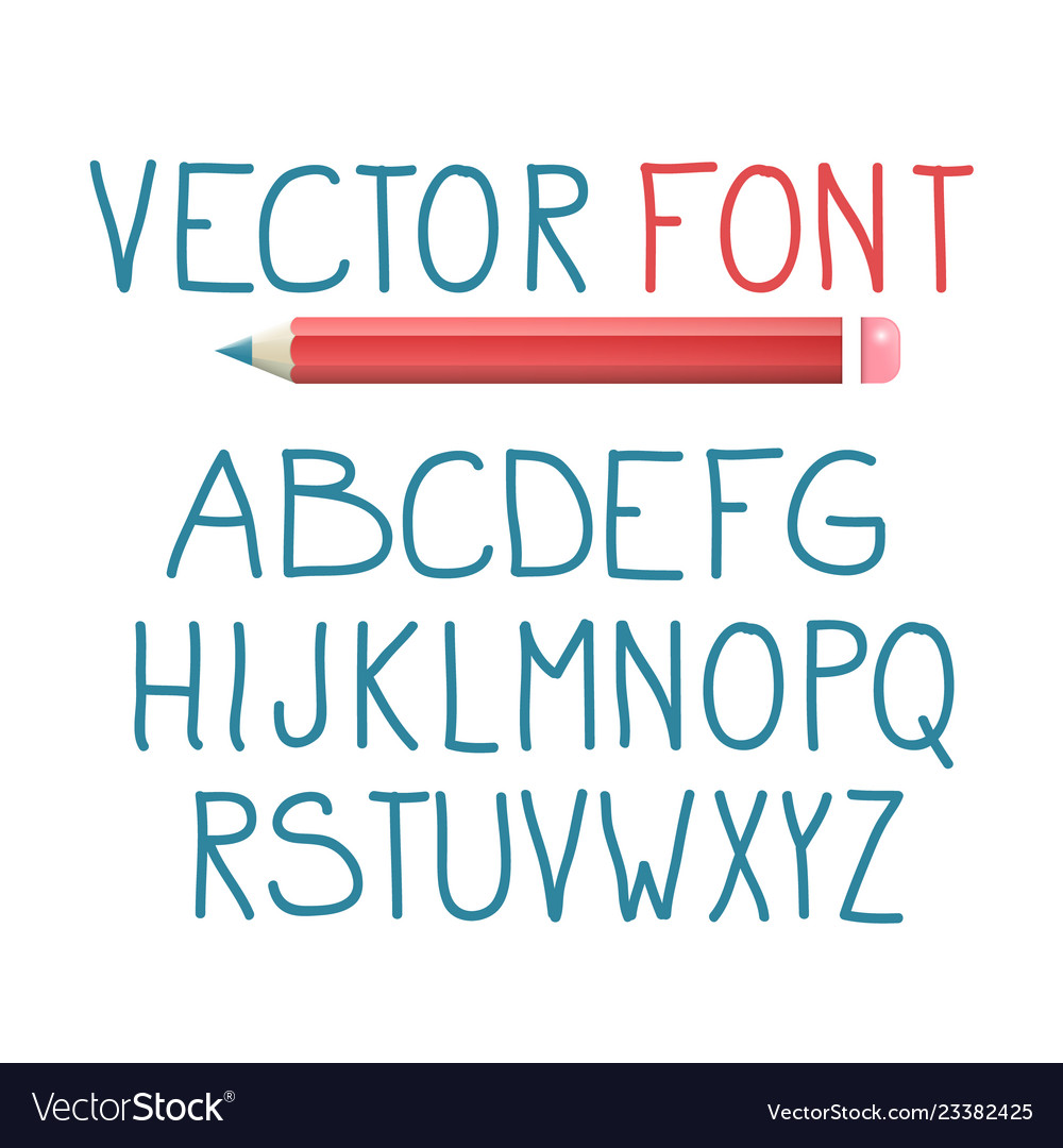 Font with pencil alphabet typography design