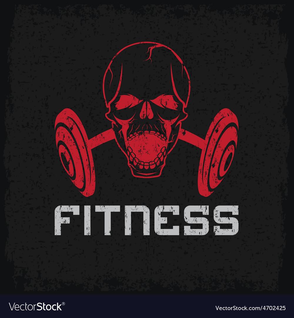 Grunge aggressive skull and barbell fitness emblem vector image