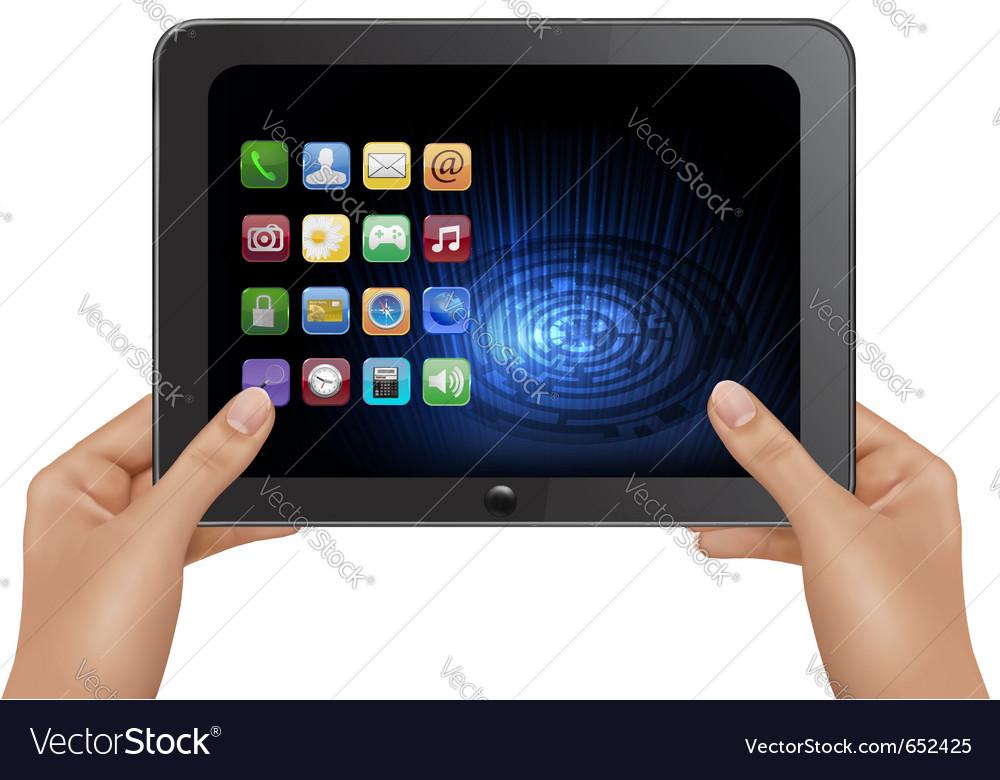 Hands holding digital tablet
