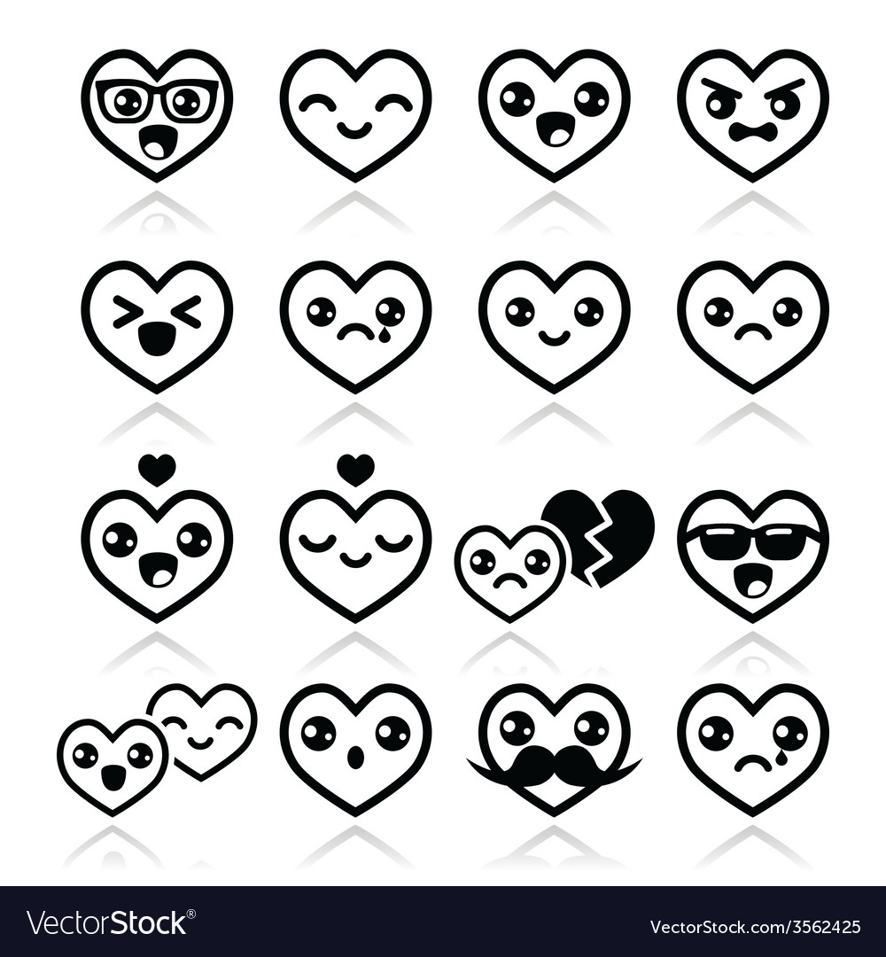 Kawaii hearts Valentines Day cute icons vector image