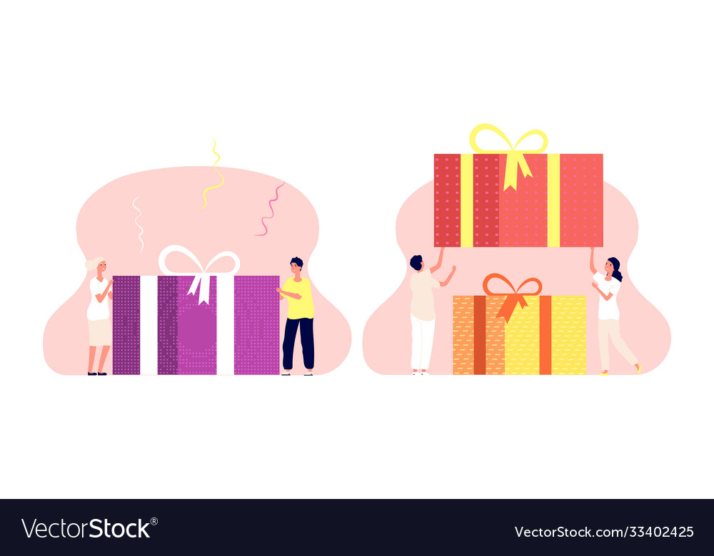 People with present box birthday gift man woman