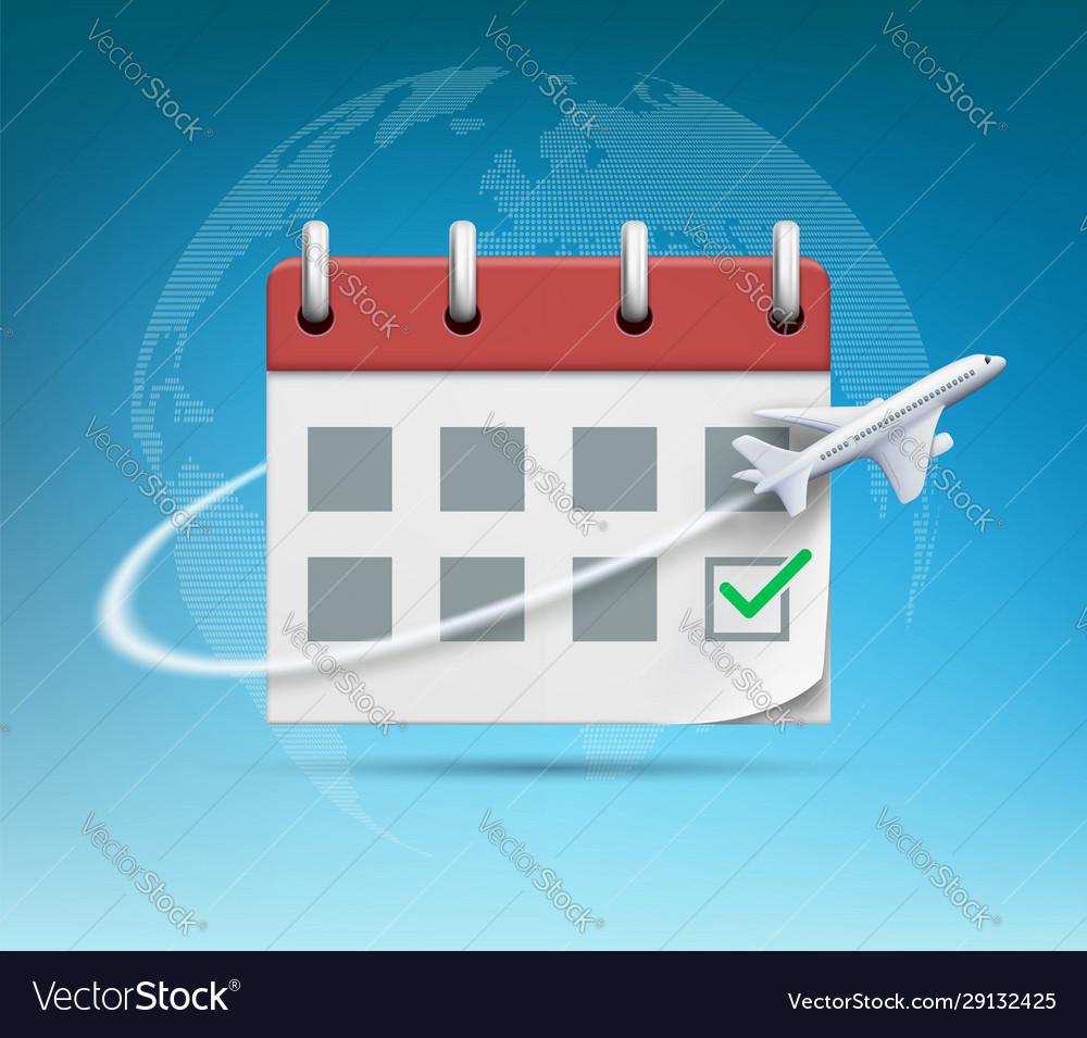 Plane flies around organizer or calendar