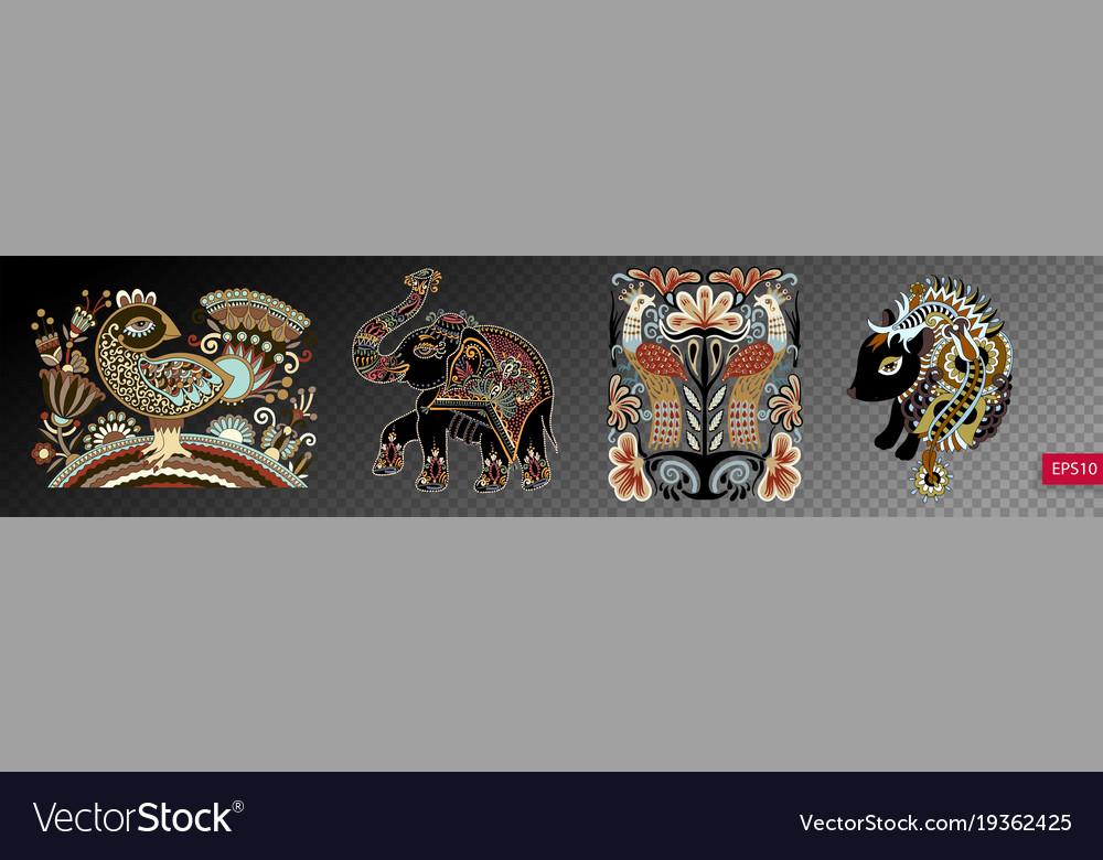 Set of ethnic decorative animals and birds in