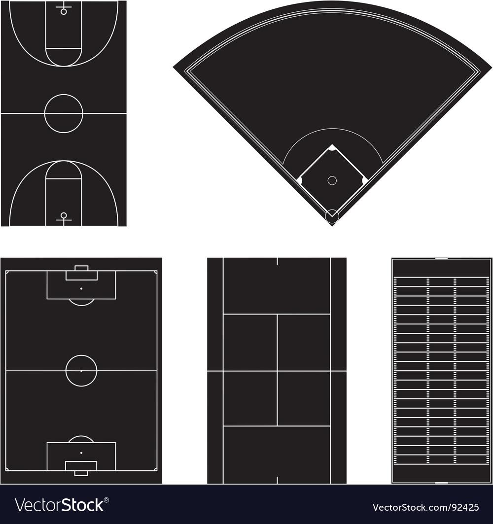 Sport field layouts in black