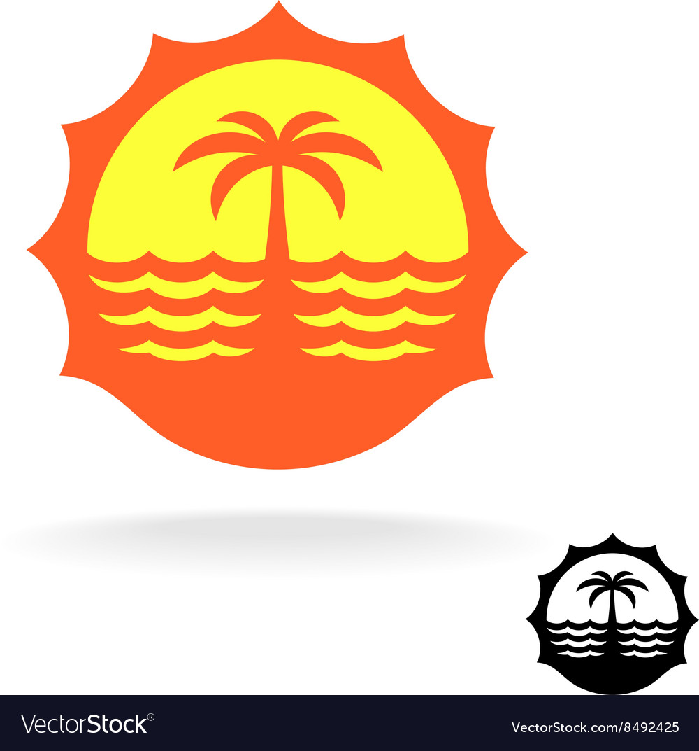 Sunset sea waves and palm silhouette tropical