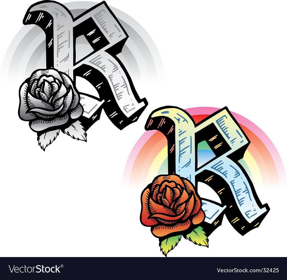 Tattoo letter r vector