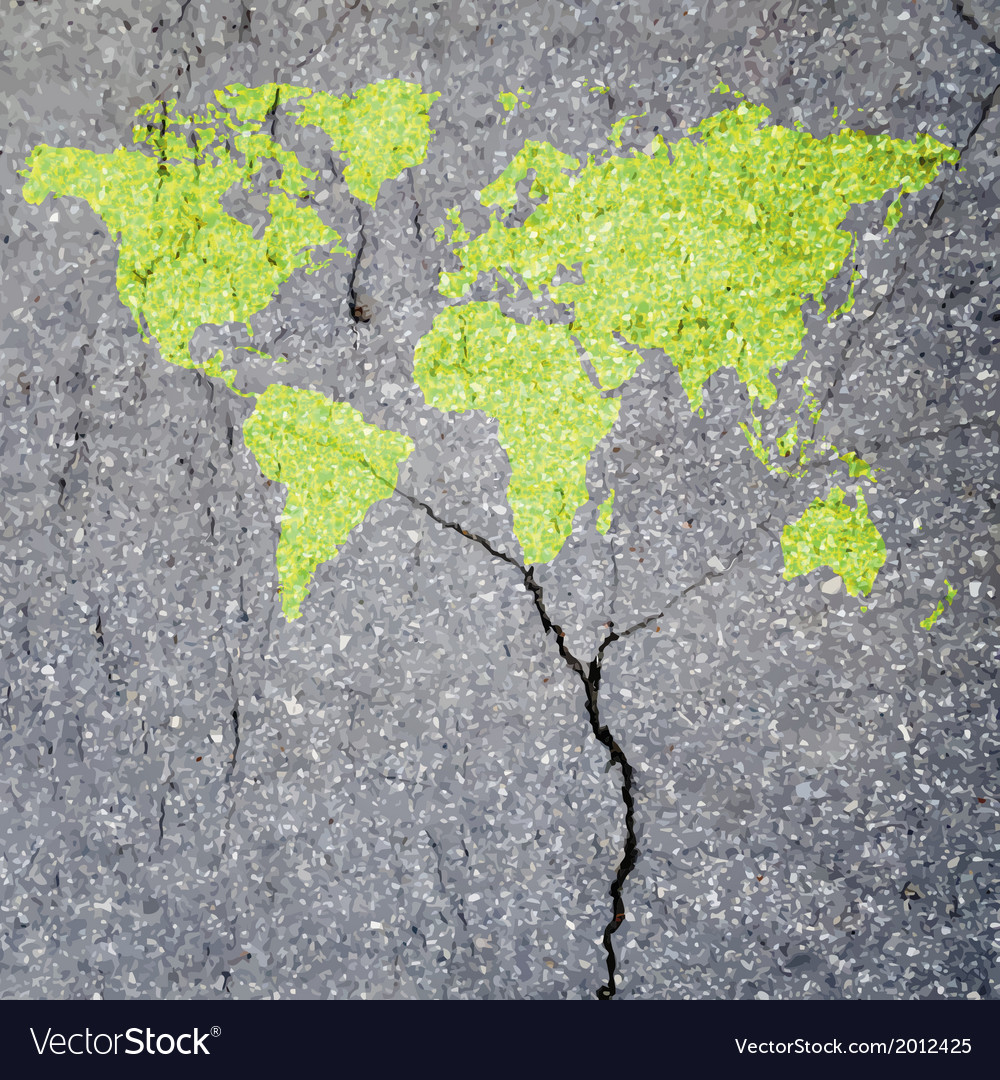 Tree World Map eco concept vector image