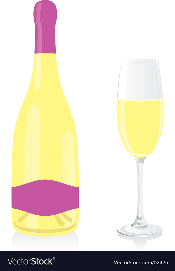 White champagne bottle and glass vector image