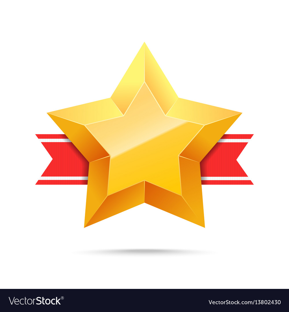 3d gold star and red ribbon royalty free vector image