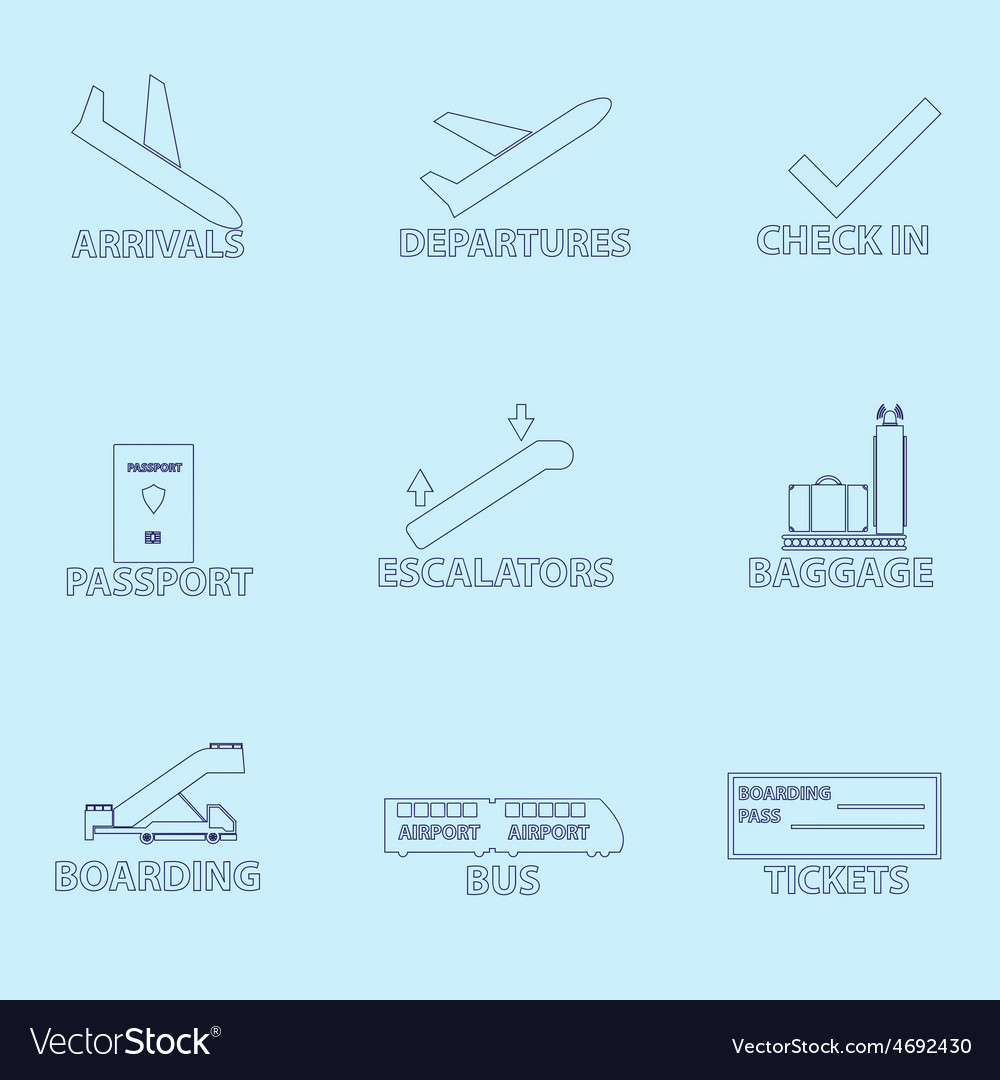 Airport signs for planes outline icons set eps10