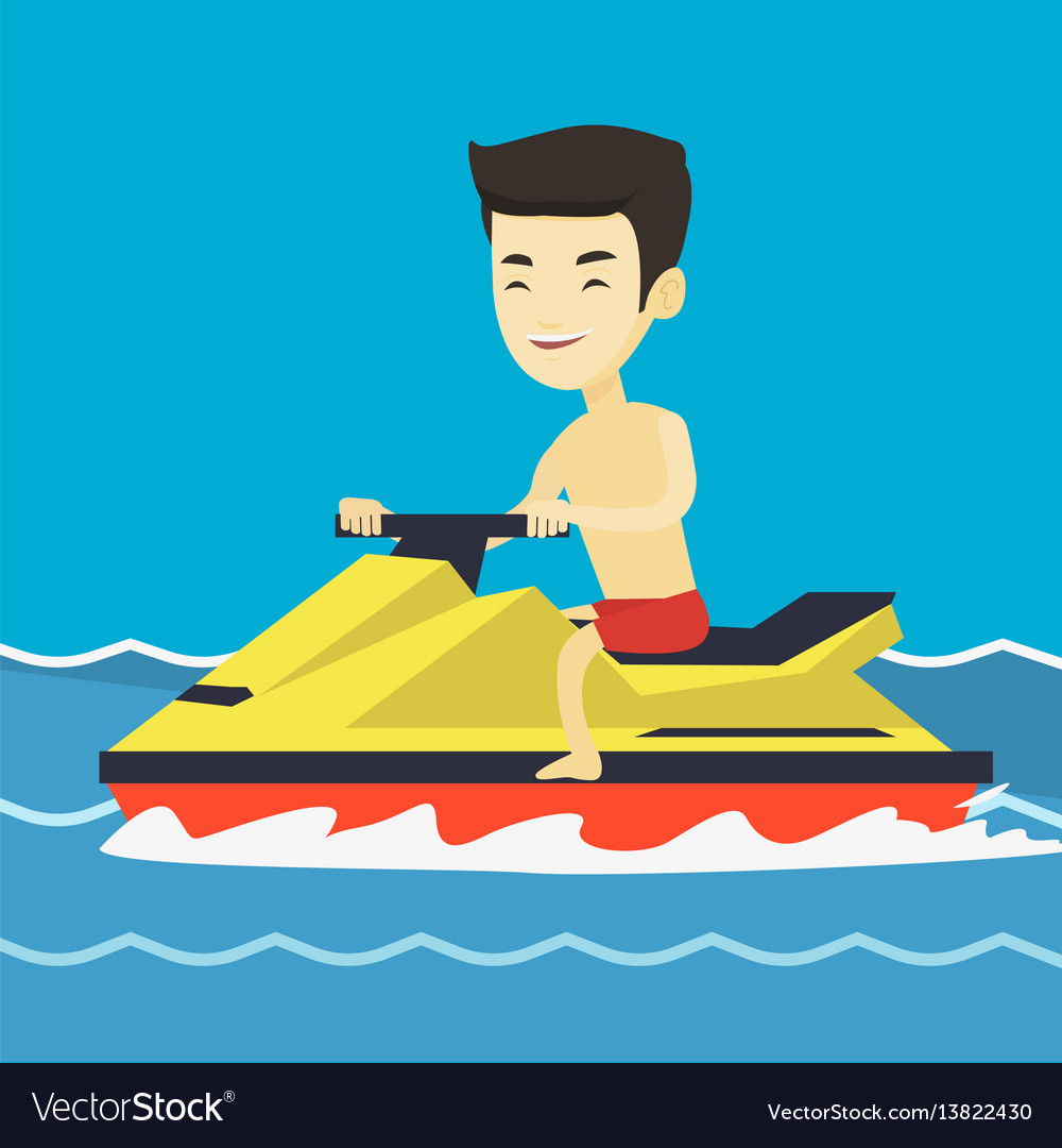 Asian man training on jet ski in the sea