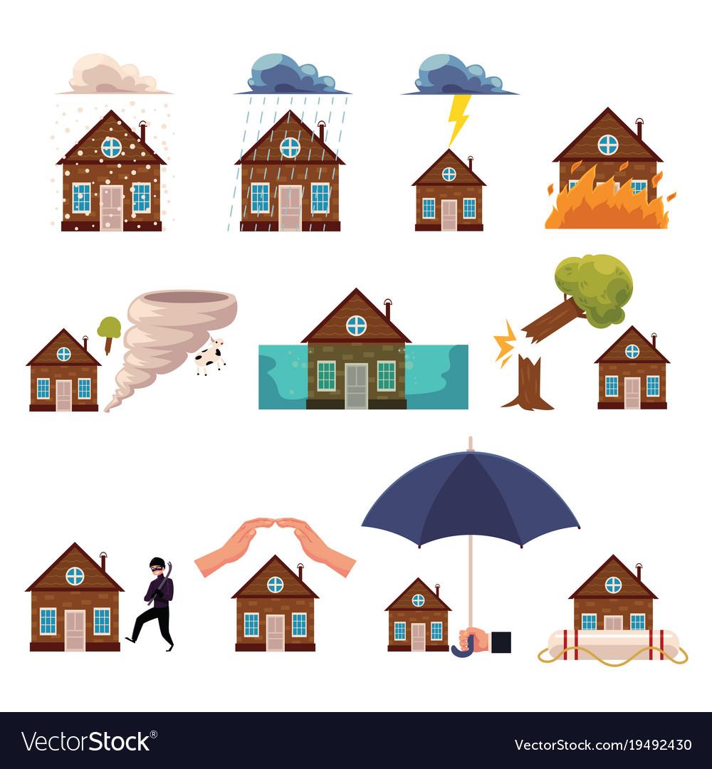 Big set of house insurance cartoon style icons
